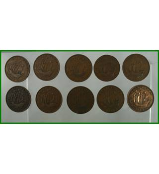 George VI - halfpenny - 1943 - 10 coins