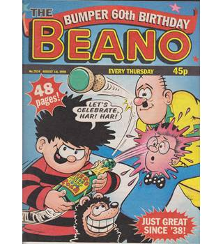 Beano No 2924 August 1st 1998 60th Birthday Issue