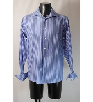 "Dehavilland Shirt - Blue/White Stripe - Size 40/42"" Chest 15.5"" Collar Dehavilland - Size: L - Multi-coloured"