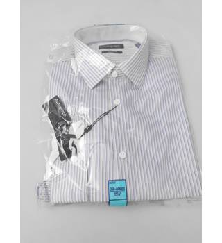 "M&S Autograph Size 15.5"" Collar Mustard Blue and White Shirt"