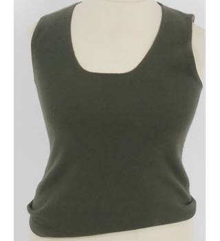 FTC Size 12 Olive Green Cashmere Tank Top