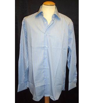 Daniel Hechter  Size M  Light blue long sleeved formal shirt with mid blues stripes and cuff link cuffs