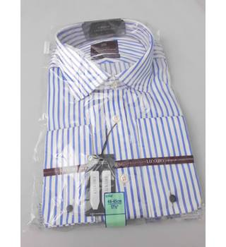 "M&S Collection Luxury Size 17.5"" Collar Blue and White Striped Shirt"