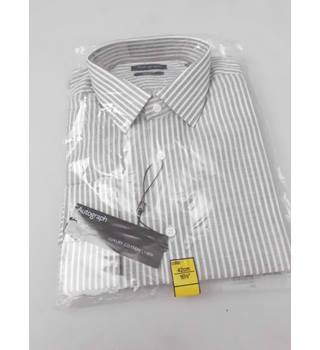 "M&S Autograph Size 16.5"" Collar White and Grey Striped Shirt"