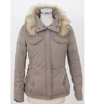 GEOX - Size: 6 - Brown with Faux Fur Hood Parka Jacket
