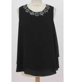 George - Size: 12 - Black with beaded  collar Top