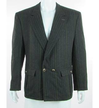"VINTAGE Gianni Versace - Size: 42"" - Charcoal Grey With White & Green Pinstripe - Virgin Wool Double Breasted Suit Jacket"