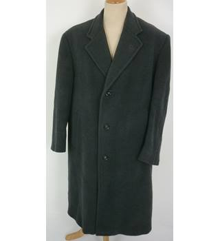"Eiderluxe (Baxter & Brown) Size: L, 42"" chest, 3/4  length Grey Stylish Scottish Wool Designer Over Coat With Quilt Lining"