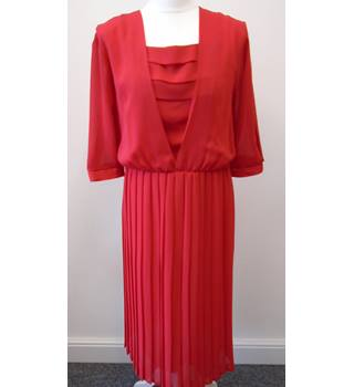 1980's Red Dress with Pleated Skirt - Size: S/M