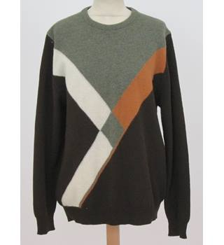 Wolsey - Size: M - Block Colour -Brown, Green,White Jumper