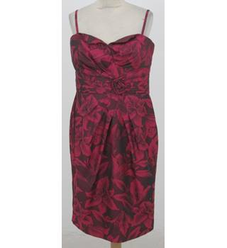 Alexon - size: 14, pink and maroon floral patterned sleeveless dress