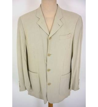 "Jasper Conran Size: Jacket, M, 38"" chest, reg fit & Trousers, 32"" W, 29"" L Cream Stylish Rayon Blend Single Breasted Suit"