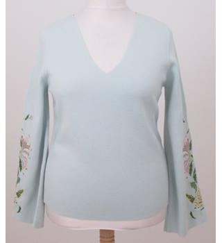 NWOT Per Una - Size: 12 - Mint Green Jumper with embroidered sleeves
