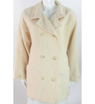 VINTAGE St Michael - Size: 12 - Cream  - Pure New Wool Double Breasted Coat