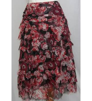 Jigsaw-Size 10-Red Mix-Tiered Skirt.