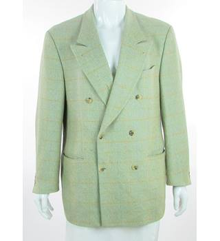 "René Lezard - Size: 42"" - Light Olive Green - Wool Double Breasted Suit Jacket"