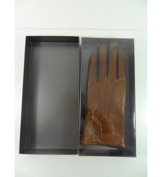 BNWT John Lewis Size M Tan & Black Leather Gloves