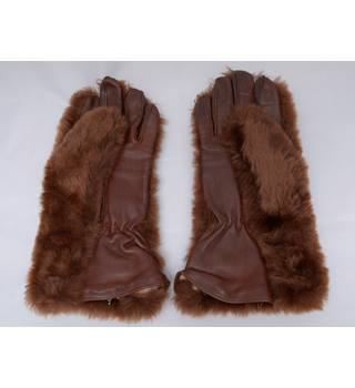 Brown Faux Fur and Leather Gloves