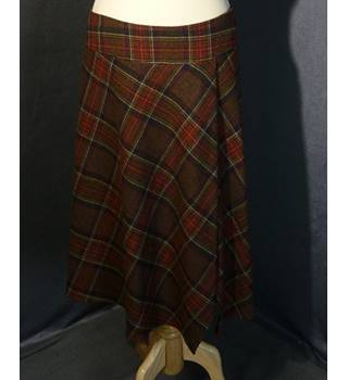 Hobbs Lambswool Plaid Red Skirt Size 12