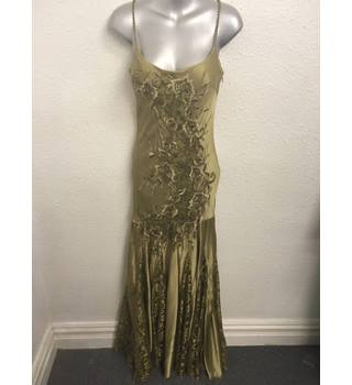 Stunning Olive Green Floor Length Gown with Lace Scarf by Yve London - Size S