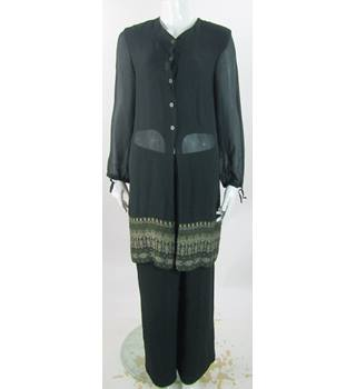 Windsmoor - Size: 10 - Very Dark Green - Sheer Top And Trousers With Pattern