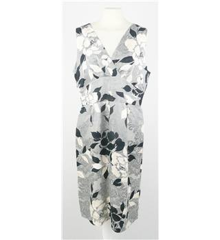 Phase Eight Size 14 Grey with Cream and Black Leaf  Pattern Dress