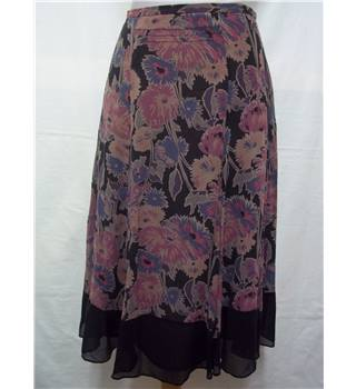 Jigsaw, size 10 black & lilac floral mix silk skirt