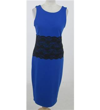 Boohoo: Size 14: Royal blue with black lace panel body-con dress
