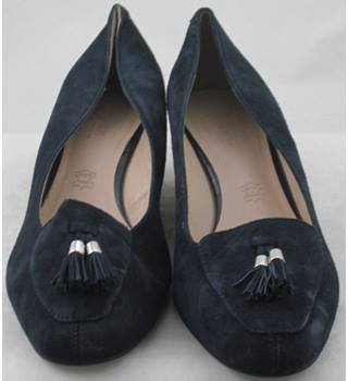 Footglove, size 6.5 navy suede wedge heeled loafers