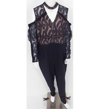 BNWT Truly You Size 18 Black and Blush Pink Lace Jumpsuit