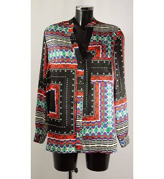 River Island size 12 Black  with Red, Blue and Green Indian Inspired Pattern Blouse