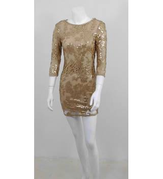 TFNC London Size 6 Gold Sequin Bodycon Evening Dress