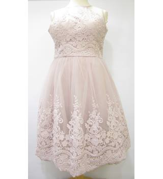Embroidered Netted Dress Chi Chi London - Size: 16 - Pink - Evening dress