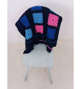 Lovely Navy Blue & Pink Handmade Crochet Blanket