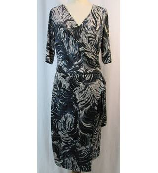 M&S Marks & Spencer Autograph- Size: 10 - Navy Blue Mix - Wrap around dress