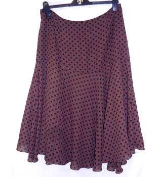 Kaleidoscope - Size: 16 - Mocha Brown with Black Polka Dots - Knee length skirt