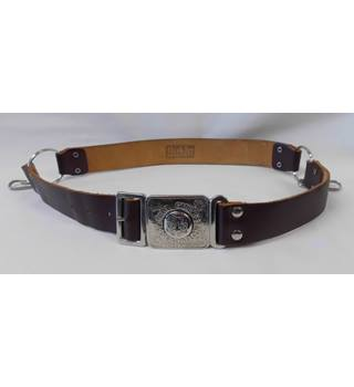 "Vintage Girl Guides Association leather belt with buckle showing their motto ""Be Prepared"""