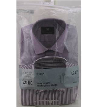"NWOT M&S Collection size: 15"" collar lilac / white short sleeved shirts x2"