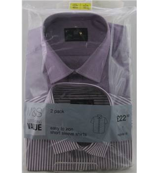 "NWOT M&S Collection size: 14 1/2""collar lilac / white short sleeved shirts x2"