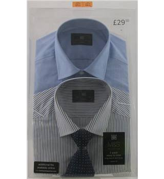 "NWOT M&S Collection size: 14 1/2"" collar blue mix long sleeved shirts x2"