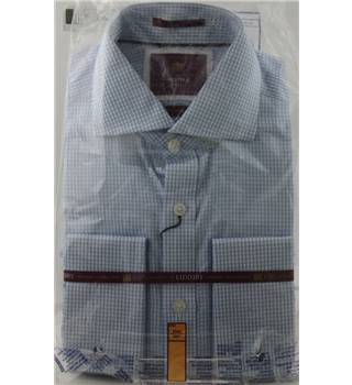 "NWOT M&S Collection size: 17"" collar blue / white long sleeved shirt"