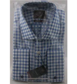 "NWOT M&S Collection size: 14 1/2"" collar blue / white long sleeved shirt"