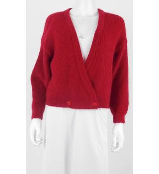 Mohair 12/14 Dark Red Cardigan Mohair - Size: 12 - Red