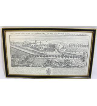 Antique Line Engraving - The South-East View of Bishop-Aukland-Palace in the Bishoprick of Durham - Samuel & Nathaniel Buck