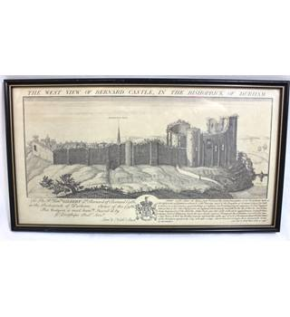 Antique Line Engraving - The West View of Bernard Castle in the Bishoprick of Durham - Samuel & Nathaniel Buck
