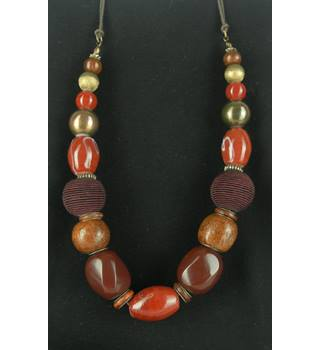 Statement Wood And Ceramic Beaded Necklace