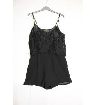 Hearts & Bows Black Lace Playsuit Size 12 Hearts & Bows - Size: 12 - Black - Playsuit