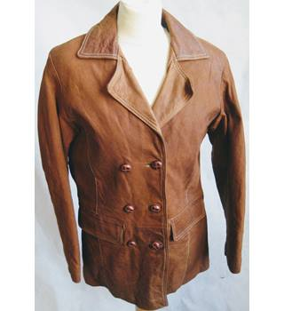 Milan Leather Tan double breasted jacket size 12 Milan Leather - Size: 12 - Brown - Casual jacket / coat