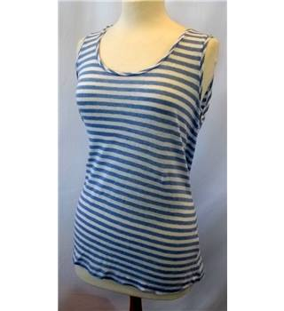 East - Size: 14 - Light blue and white stripes - Sleeveless top