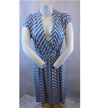 French Connection Size 12 Beige with Royal Blue Stripes Dress